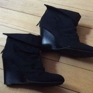 Unlisted brand fold over black suede boots size 8